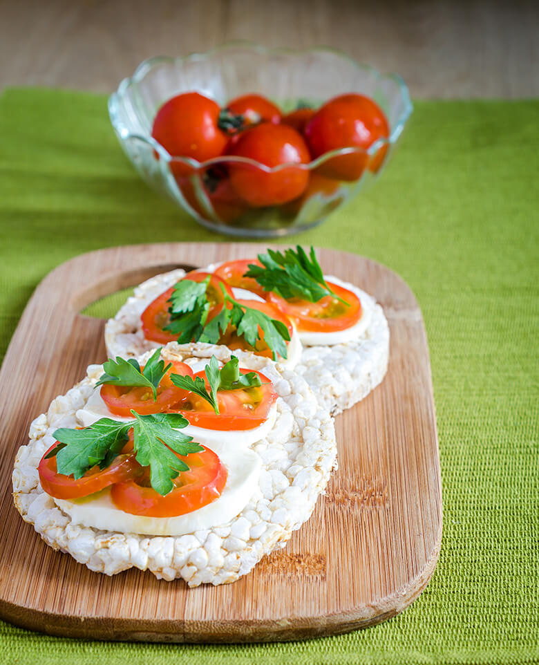 Gluten-free sandwiches with mozzarella and tomatoes